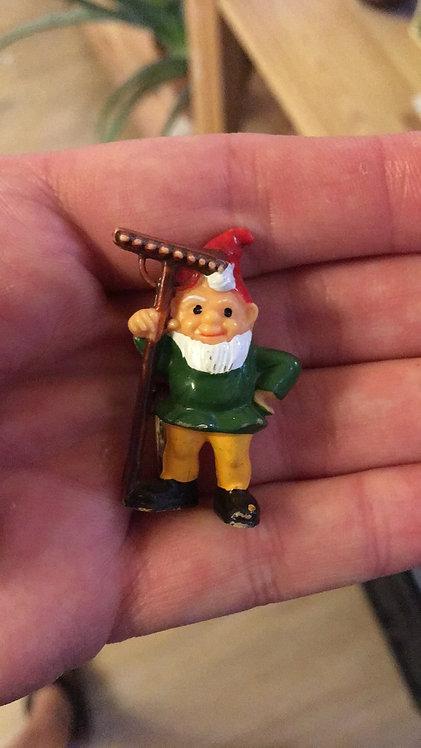 Vintage Garden Gnome Raking Away!