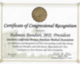 Certicate of Congressional Recognition