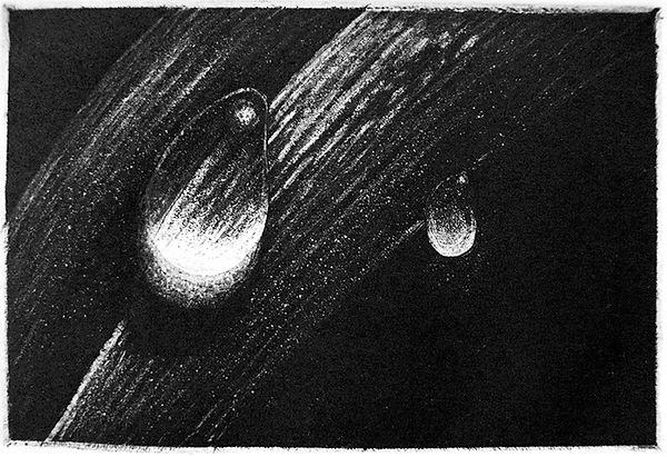 Water Droplets, etching, intaglio print