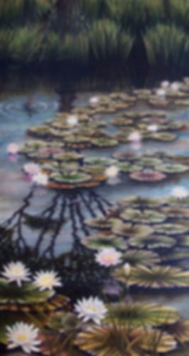 Original oil painting of waterlilies and water reflections in a pond