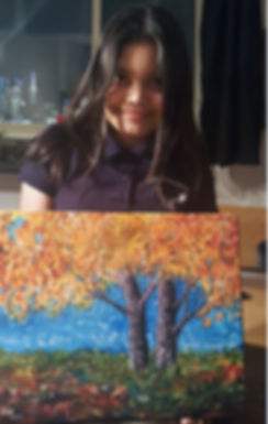 Young girl in art classes