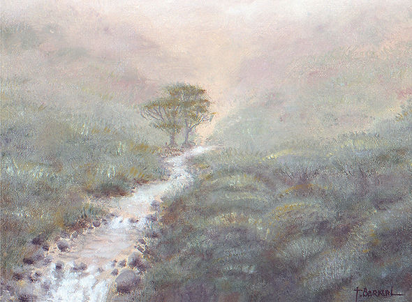 Paintings of nature, misty landscape of nature with brook, trees and fog