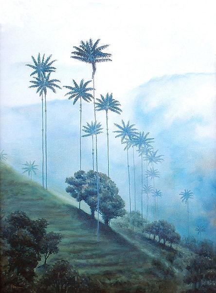 Painting of nature, landscape of palmas de cera in Cocora, Salento, Quindio