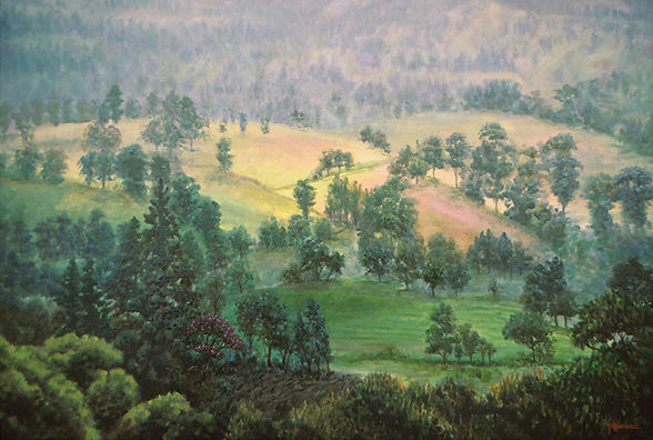 Paintings of nature,landscape with mountains and trees in the rain forest of the Andes mountains