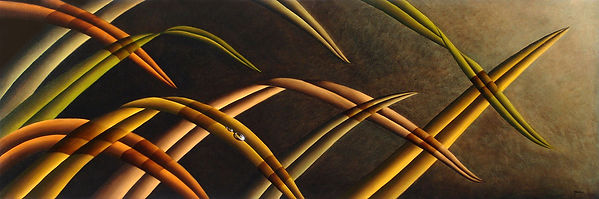 Oil painting of grass leaves and dew
