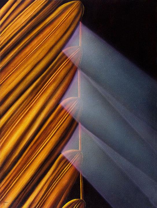 Rayos de luz y hoja de palma