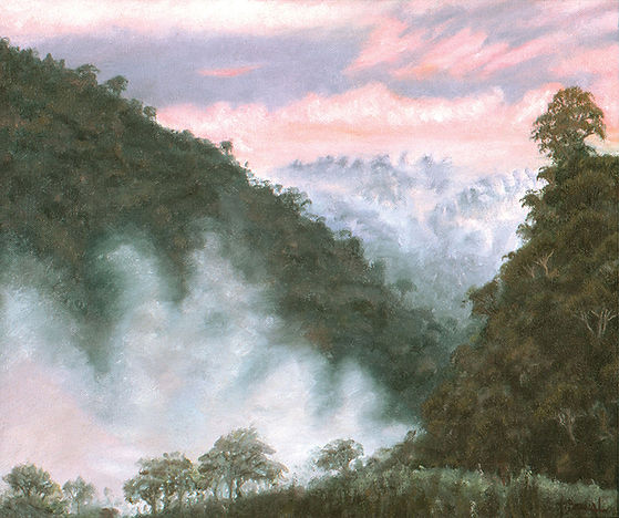 Images of nature, nature paintings, paintings of mountains with trees and fog