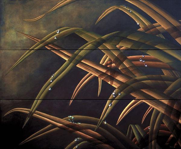 Rocio, gotas de agua sobre hojas de hierba