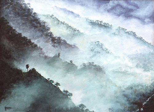 Paintings of nature landscapes, mountains with mist and fog, nature paintings