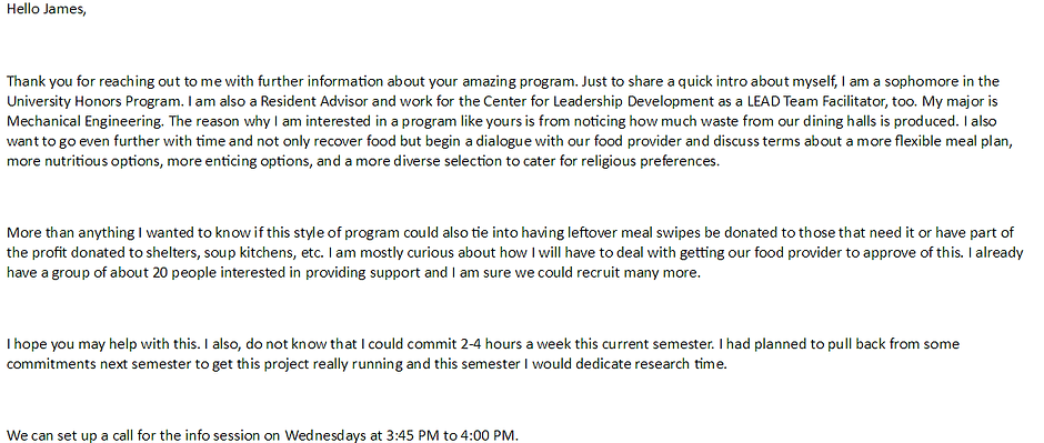 Email to James with the Food Recovery Network