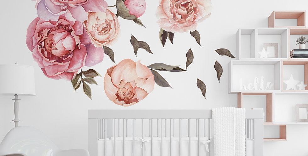 Watercolor Peony wall decals kit