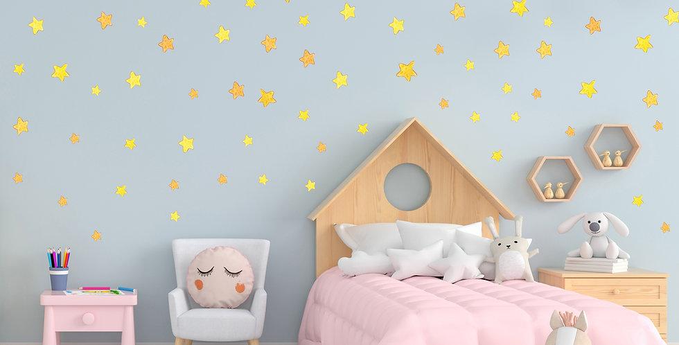 Watercolor stars set