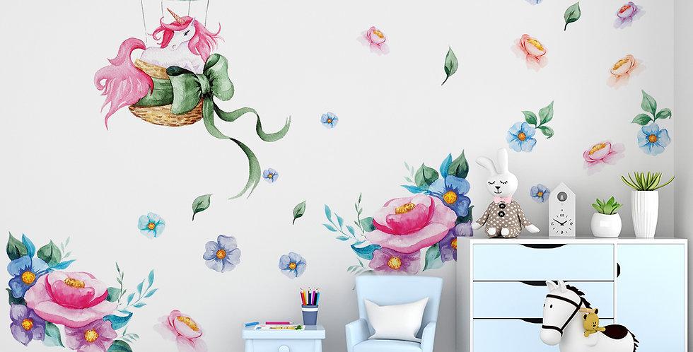 Unicorn and flowers, big bundle