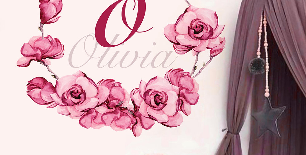 Unique floral wreath with custom name decal