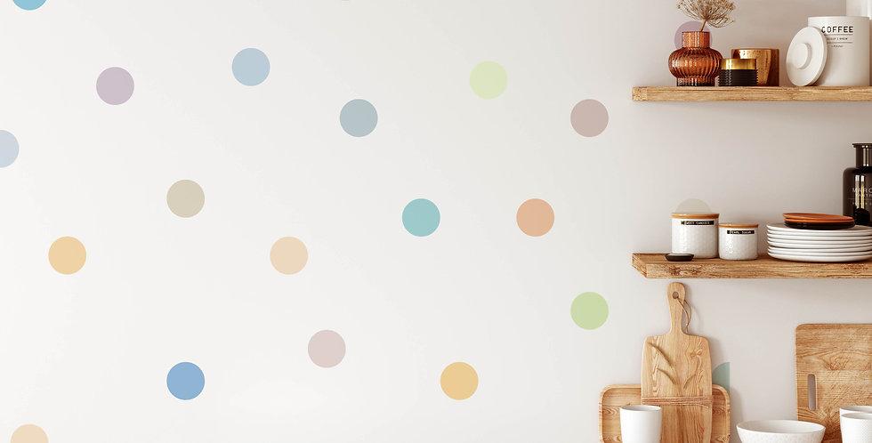 Colorful Polka dot wall decals kit