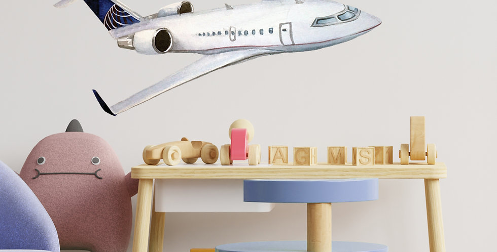 Watercolor plane wall decal