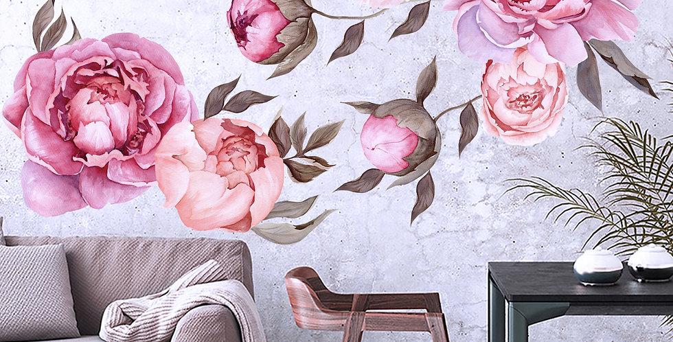 Watercolor flowers decals