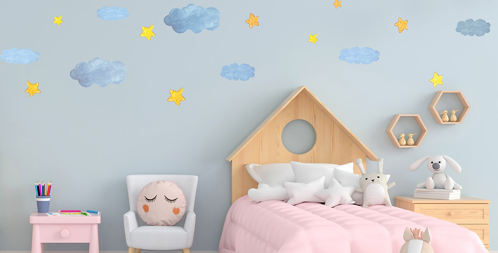 Watercolor Clouds and Stars Decals