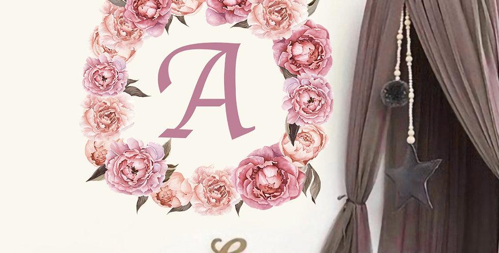 Custom letter and  flower wreath