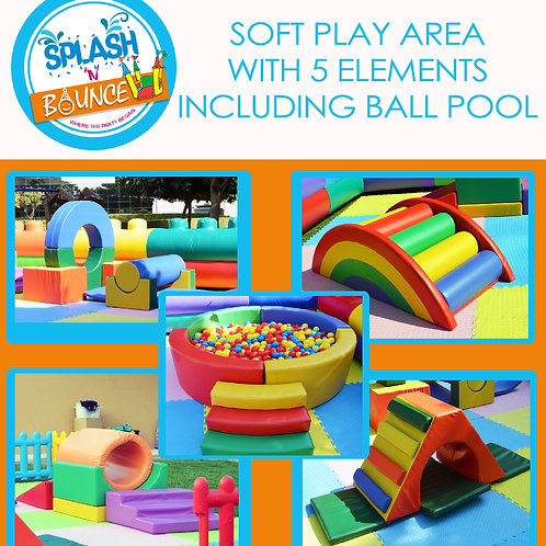SOFT PLAY AREA WITH 5 ELEMENTS(WITH BALL POOL)