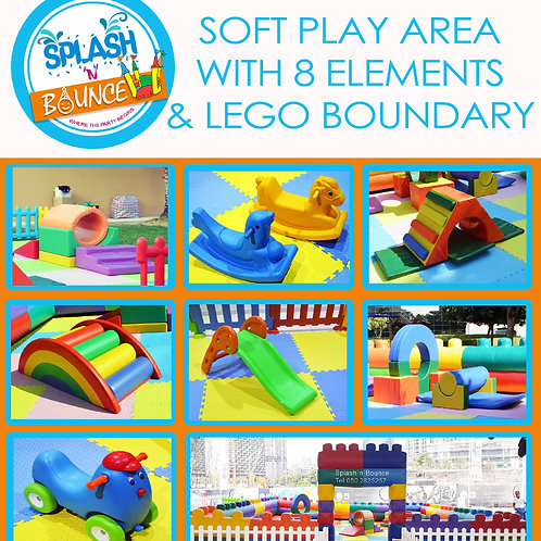 SOFT PLAY AREA WITH 8 ELEMENTS AND LEGO BOUNDARY WITH BALL POOL