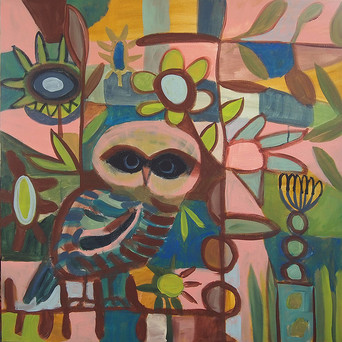 Pink owl in foliage