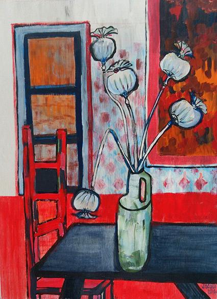 Vase with poppies