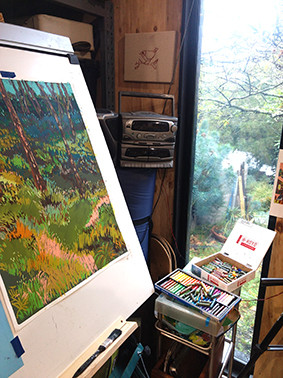 studio oil pastels insitu