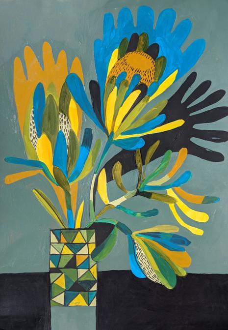 Foliage with geo vase