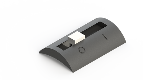 Kill switch render. A slide switch made of plastic with on and off indications.