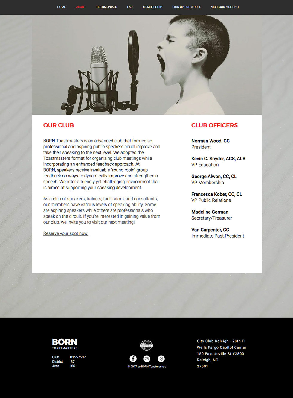 Born Toastmasters Raleigh Web Design