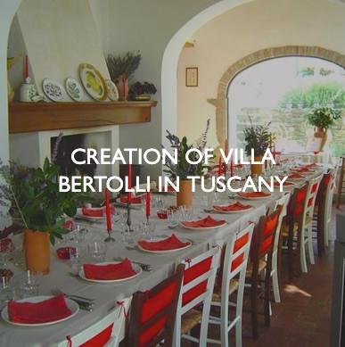Product marketing for Villa Bertolli in Tuscany.