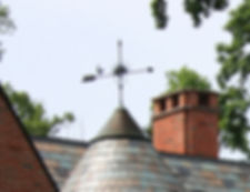 A finial that decorates a slate roof
