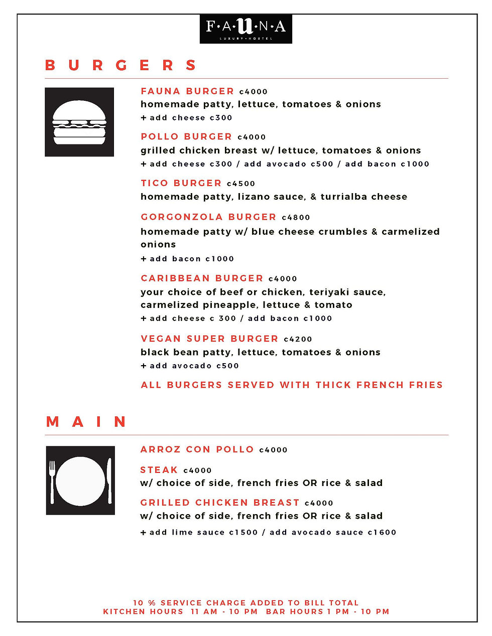 Fauna Luxury Hostel Restaurant Menu Design, Ethos By Design