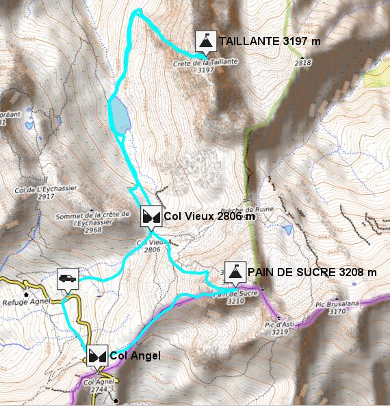 mapa i track taillante y pain de sucre queyras