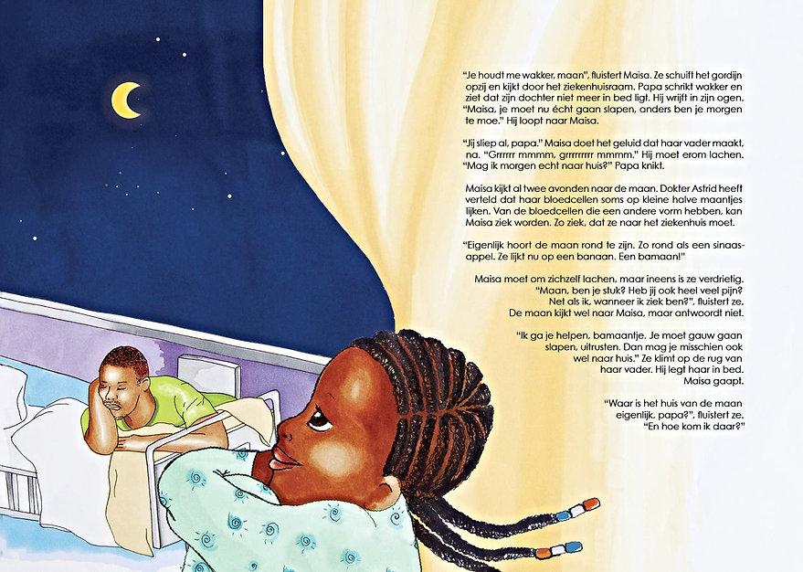 Maisa en de maan, Glynis Terborg, sikkelcelziekte, kinderboek, kinderboek over sikkelcelziekte
