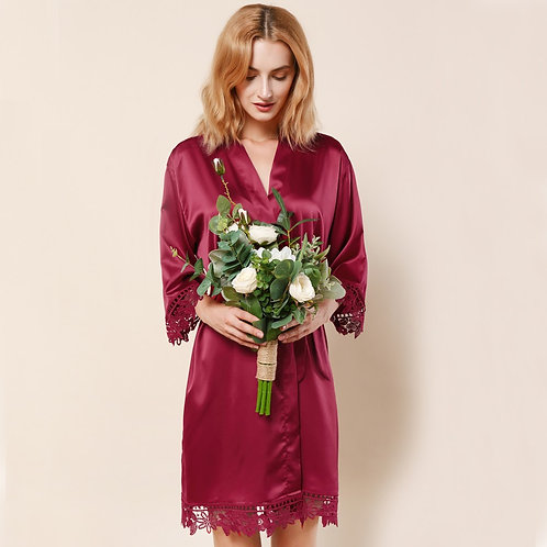Burgundy Lola Satin Lace Robe With Personalisation ★