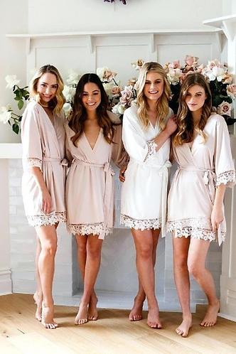 Plain Lace Bridal Robe