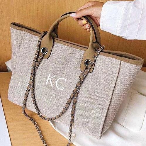 Brown canvas initial bag  ★