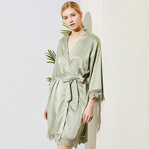 Sage Lola Satin Lace Robe With Personalisation ★