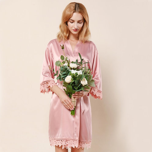 Dusty Rose Lola Satin Lace Robe With Personalisation ★