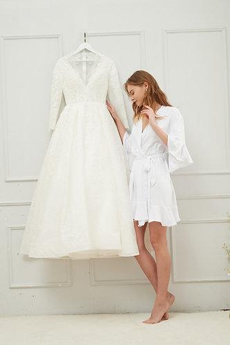White Roxy ruffle robe  personalised  ★