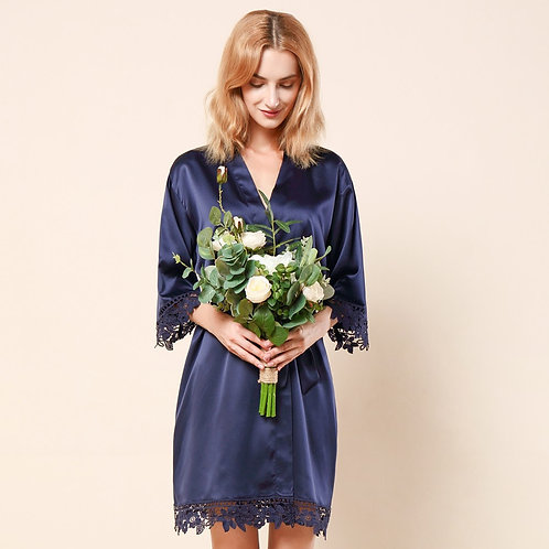 Navy Lola Satin Lace Robe With Personalisation ★