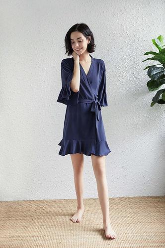Navy Roxy ruffle robe  personalised ★