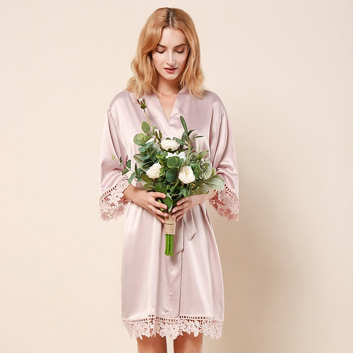 Nude Pink Lola Satin Lace Robe With Personalisation ★