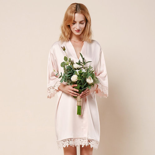 Blush Lola Satin Lace Robe With Personalisation ★