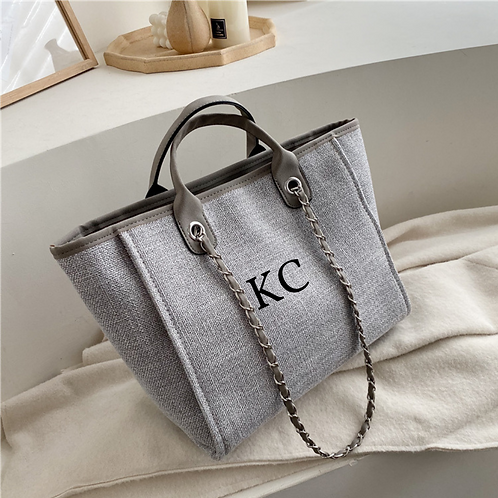 Grey canvas initial bag  ★