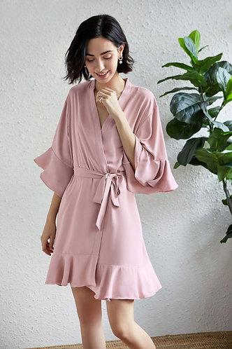 Dusty Rose Roxy ruffle robe  personalised ★