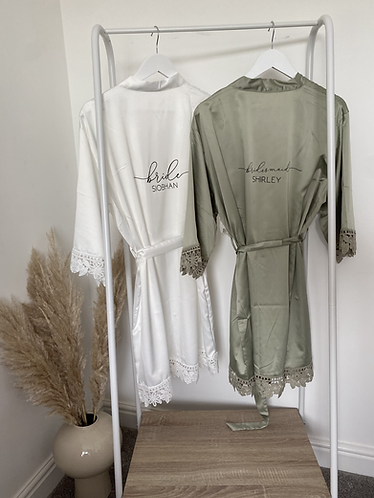 White Lola Satin Lace Robe With Personalisation ★