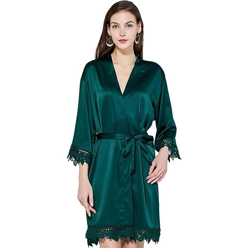Forest Green Lola Satin Lace Robe With Personalisation ★